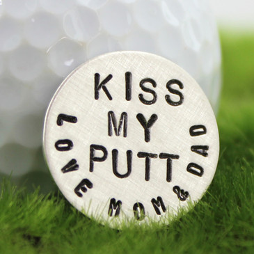 Kiss My Putt Handstamped Sterling Golf Marker