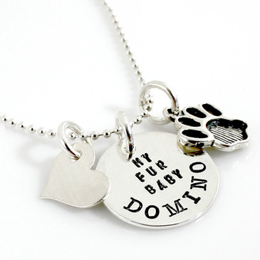 My Fur Baby Personalized Necklace with Paw Charm