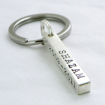 Four-Sided Bar Key Chain - Sterling Silver