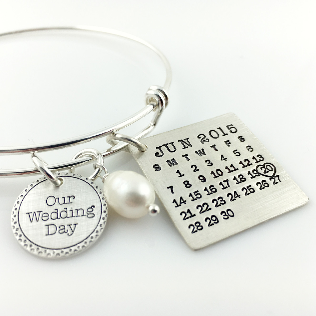 Mark Your Calendar Bangle Bracelet with Our Wedding Day Charm