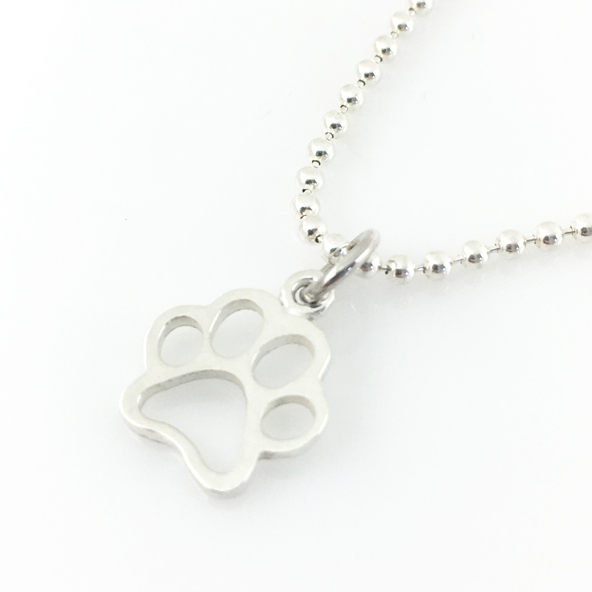 Open Paw Print Simple Charm Necklace