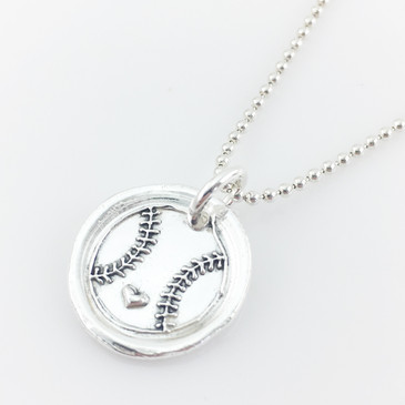 Baseball Love Wax Seal Inspired Necklace