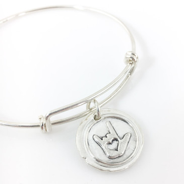 ASL I Love You Symbol Wax Seal Inspired Bangle Bracelet