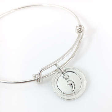 Semicolon Wax Seal Inspired Bangle Bracelet