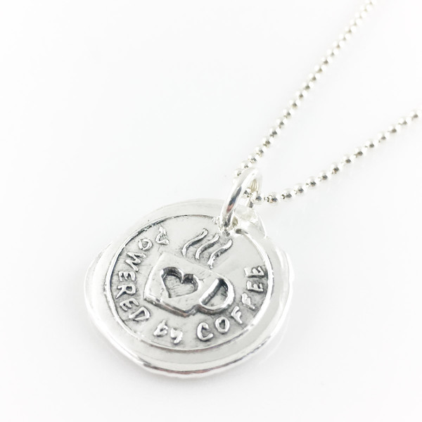 Powered by Coffee Wax Seal Necklace
