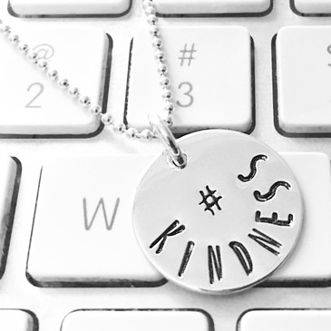 Hashtag hand stamped sterling necklace