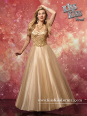 Kiss Kiss Formal by Mary's P3252, Golden Sand, Size 10 on SALE