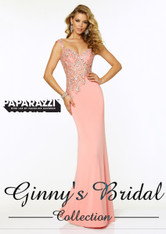 Paparazzi Mori Lee Prom by Madeline Gardner 97016 Coral Size 6 on SALE