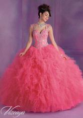 Vizcaya by Mori Lee Quinceanera Dress 89010, Pink Panther, Size 8 on SALE