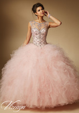 Vizcaya by Mori Lee Quinceanera Dress 89041, Blush, Size 8 on SALE