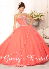 Vizcaya by Mori Lee Quinceanera Dress 88088, Coral, Size 6 on SALE