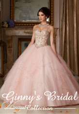 Vizcaya by Mori Lee Quinceanera Dress 89101, Blush / Gold, Size 8 on SALE
