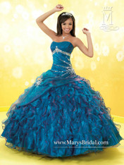 Princess by Mary's Quinceanera Dress 4Q675, Ocean, Size 4 on SALE