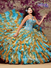Alta Couture by Mary's Quinceanera Dress 4T102, Turquoise/Gold, Size 6 on SALE