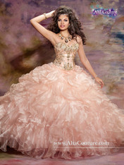 Alta Couture by Mary's Quinceanera Dress 4T116, Peach/Gold, Size 12 on SALE