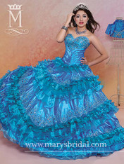 Beloving by Mary's Quinceanera Dress 4395, Turquoise, Size 8 on SALE