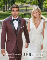 "Ike Behar Evening Burgundy ""Marbella"" Slim Fit Tuxedo - Rental"