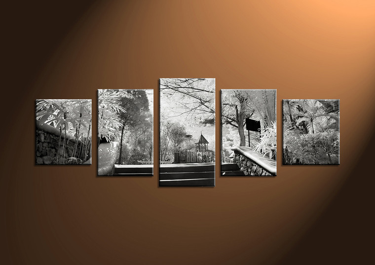 5 piece black and white canvas art for Black and white wall art