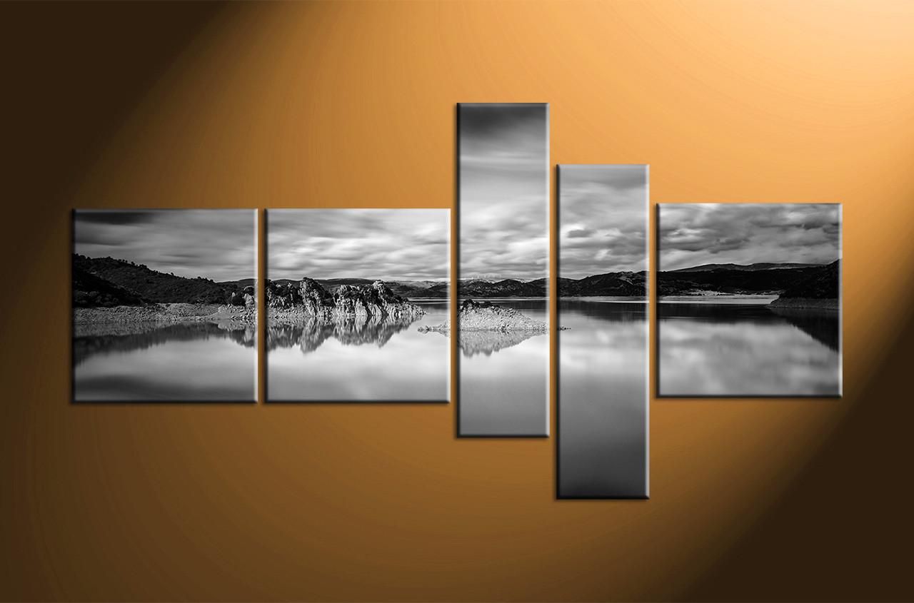 5 Piece Ocean Black And White Mountain Photo Canvas