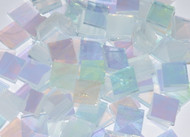 "1/2"" x 1/2"" Clear & White Wispy Iridescent Stained Glass Mosaic Tiles (100 tiles)"