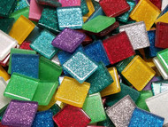 2cm Glitter Glass Tile Mix 4 oz (Approx 30 tiles)