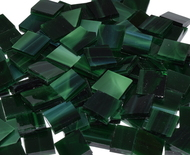 Bulk Discount - Dark Green Wispy Stained Glass Mosaic Tiles