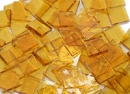 Bulk Discount - Pale Amber Rough Rolled Stained Glass Mosaic Tiles