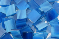 Bulk Discount - Deep Aqua Wispy Stained Glass Mosaic Tiles