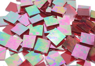 "1"" x 1"" Red Iridescent Waterglass Stained Glass Mosaic Tiles (25 tiles)"