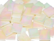 Opalized Ivory Iridescent Stained Glass Mosaic Tiles
