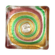 1 Yellow, Pink & Green Lampwork Cabochon, 30x30x6mm