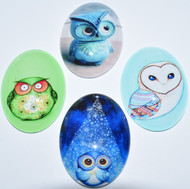 4 Blue & Green Owl Glass Cabochons, 30x40mm Ovals