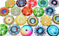 20 Psychedelic Theme 25mm Round Glass Cabochons