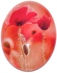 4 Red Flower Glass Cabochons 25x18mm Ovals