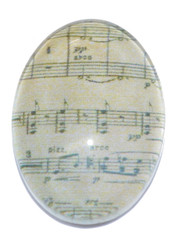 1 Music Sheet 18x13mm Oval Glass Cabochon