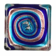 1 Teal, Blue, Pink & Silver Lampwork Cabochon, 30x30x6mm