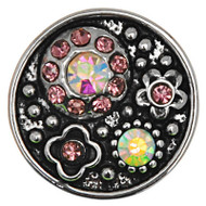 5 Pink Flower Rhinestone Snap Button Embellishments