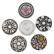 5 Colorful Flower Rhinestone Snap Button Embellishments