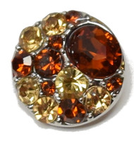 1 Amber Rhinestone Snap Button Embellishment