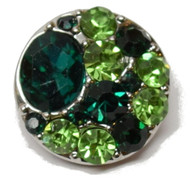 1 Green Rhinestone Snap Button Embellishment