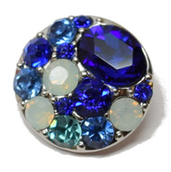 1 Blue Rhinestone Snap Button Embellishment