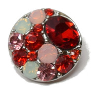 1 Red & Pink Rhinestone Snap Button Embellishment