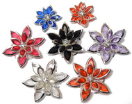 "7 Rhinestone Silver-Edged Flowers, 3/4"" - 1 1/4"""