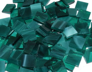 "1/2"" x 1/2"" Teal Green Wispy Stained Glass Mosaic Tiles (100 tiles)"