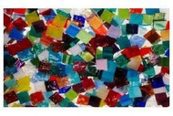 "OVERSTOCK SALE, SAVE $20:  1,000 Random/Multicolor Mix 1/2"" x 1/2"" Stained Glass Mosaic Tiles"