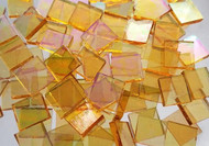 Bulk Discount - Iridescent Honey Yellow Stained Glass Mosaic Tiles