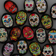18x25mm Oval Mexican Sugar Skull / Flower Skull Cabochons (20 pcs)
