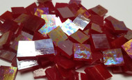 Ruby Red Iridescent Stained Glass Mosaic Tiles