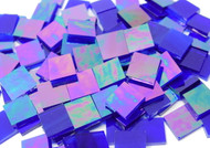 """1/2"""" x 1/2"""" Blazing Blue Iridescent Stained Glass Mosaic Tiles (100 tiles)"""
