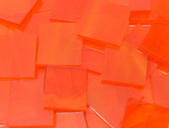 "2"" x 2"" Tangerine Orange Wispy Stained Glass Mosaic Tiles (5 tiles)"